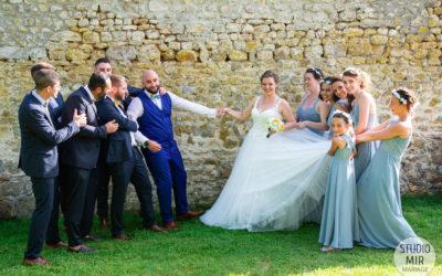 Photos de groupe lors d'un mariage en Île de France